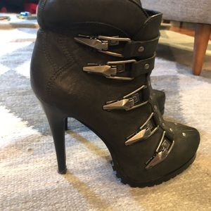 Ash Black Leather Buckled Booties - size 8